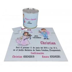"""Invitacion de boda """"Nos Casamos"""" en puzzle con lata personalizada"""